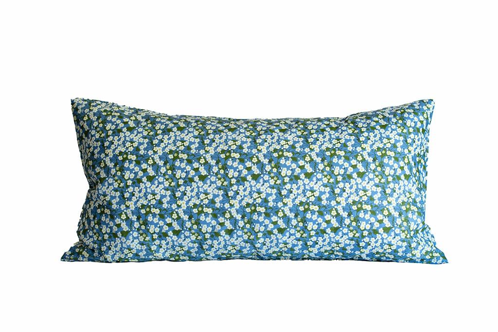 blossom kopfkissen 80x40 blue-grey